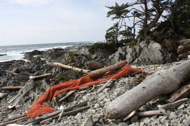 A fishing net washed up on one of Langara's remote beaches