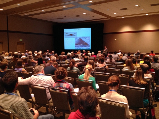 Christie discussing anthropogenic threats to humpback whales at the Salish Sea conference in Seattle