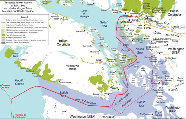 Figure 1: Red line is the tanker route. Purple area is acknowledged critical habitat for the endangered southern resident killer whale population. Click to enlarge. Source: www.wildernesscommittee.org/kinder_morgan_pipeline_route_maps