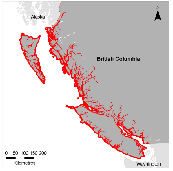 "Figure 3: ""Map showing the habitat considered necessary for meeting recovery objectives for inner coast WCT killer whales [West Coast Transient]. Area includes marine waters bounded by a distance of 3 nautical miles (5.56 km) from the nearest shore. This area includes the locations of over 90% of all individual identifications and predation events documented in BC waters during 1990-2011."" Source: Ford, J.K.B, E.H. Stredulinsky, J.R. Towers and G.M. Ellis. 2013. Information in Support of the Identification of Critical Habitat for Transient Killer Whales (Orcinus orca) off the West Coast of Canada. DFO Can. Sci. Advis. Sec. Res. Doc. 2012/155. iv + 46 p. http://www.dfo-mpo.gc.ca/Csas-sccs/publications/resdocs-docrech/2012/2012_155-eng.pdf"